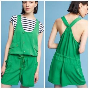 Anthropologie elevenses Dree utility green romper